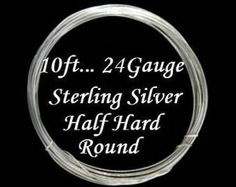 24 g gauge ga, 10 Ft, Sterling Silver Round Wire,- Half Hard