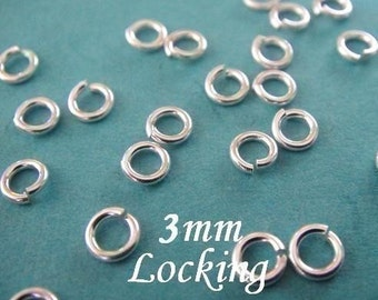 50 pcs, 22 gauge ga g, 3mm-Sterling Silver Locking Jump Ring, aka jump locks, 925 sterling silver