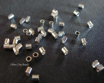 Silver Crimp Bead, HEAVY WEIGHT, 100 pcs BULK- of Sterling Silver Crimp Beads 2x2mm