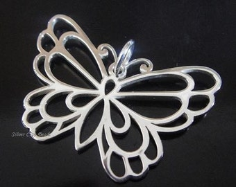 1 Large Sterling Silver Butterfly Pendant Thai  Bali Silver Charms-25 x 35mm