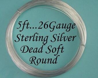 26 g gauge ga, 5 Ft, , 925 Sterling Silver Round Wire, Dead Soft