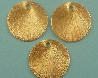 Brushed Vermeil Discs 6pcs Brushed Round Links-  12mm BULK WHOLESALE