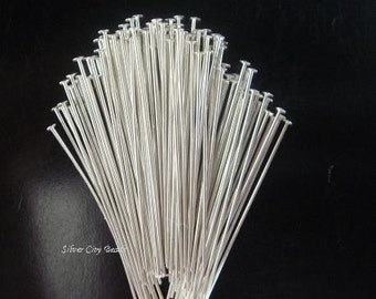 Silver Flat Headpins, Head Pins  50 Pcs 26g ga gauge, Sterling Silver Flat Headpins 1 inch