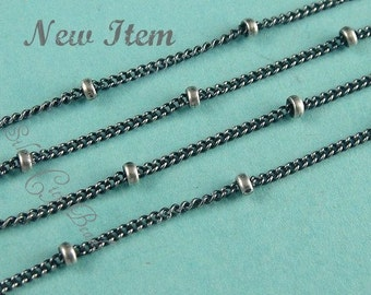 5 Ft- Sterling Silver Oxidized Satellite Chain -( chain 1mm, bead 1.9)