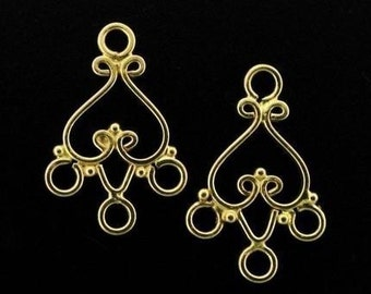 2pcs Vermeil Bali Heart Chandelier Earring 21x13mm