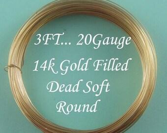 20 g gauge ga, 3 Ft 14k Gold Filled Round Wire, Dead Soft