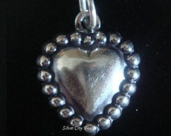 Sterling Silver Beaded Heart Charm -19mm