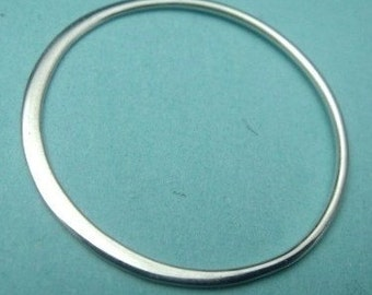 Silver Links Thai Sterling Silver Hammered Circle Links 2 pcs, 25mm