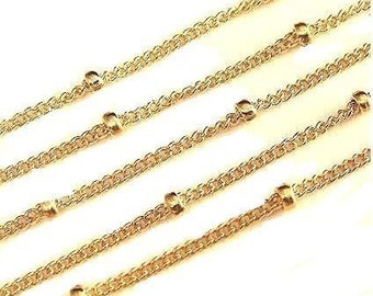 14k Gold Filled Satellite Chain WHOLESALE CHAIN with 1.9mm Bead-5 FT