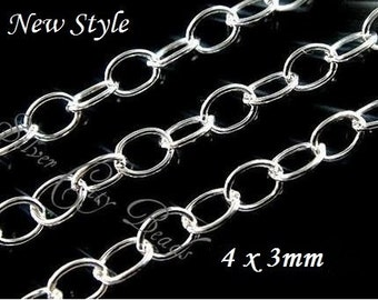 1 ft, Sterling Silver Cable Extender Chain, 3x4mm WHOLESALE