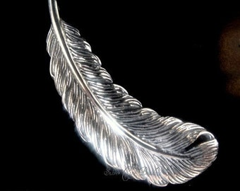 Sterling Silver Feather Charm Sterling Silver Pendant THAI SALE  30 x 10 x 2mm