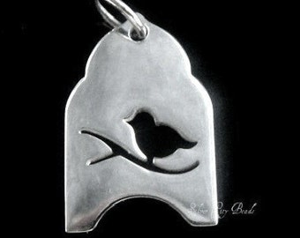 Silver Bird Cage Charm,Thai  Silver Charms, SALE-Sterling Silver Bird Cage Charm-20 x 10mm