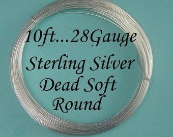 28 gauge g ga, 10 Ft Sterling Silver Dead Soft Wire