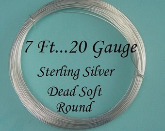 20g gauge ga g, 7ft, Sterling Silver Round Wire- Dead Soft