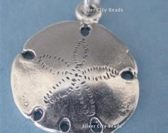 Silver Sand Dollar Charm, Sterling Silver Pendant -20mm