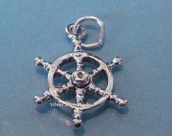 Sterling Silver Helm Nautical Seamans Wheel Charm -23mm