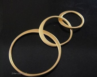 Vermeil  Link, Circle Links Link, Hammered Sale Thai 24k Vermeil Circle Links- 37 x 18mm