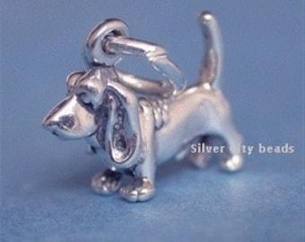 Sterling Silver Basset Hound Dog - 10x10mm, Small Dog Charm, Read Discription