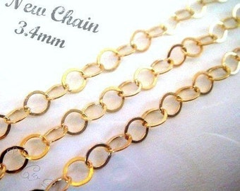 3 ft, 14k Gold Filled Flat Cable Chain  3.4mm