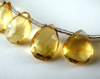 Citrine Pear Briolette, Faceted Gemstone, 4 pcs FOCAL BEADS for Pendants,  Wholesale Beads, Brides, - 10x7-11x7mm,