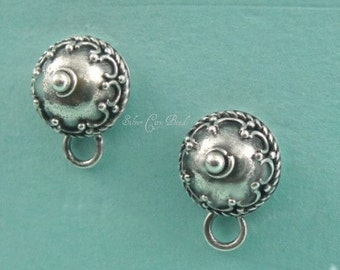 Sterling Silver Domed Earposts with Wire Work Thai Silver Ear posts 6.8 x 6.8 x 4.9mm