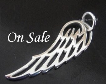 1 Sterling Silver Angel Wing Charm 27 x 8mm