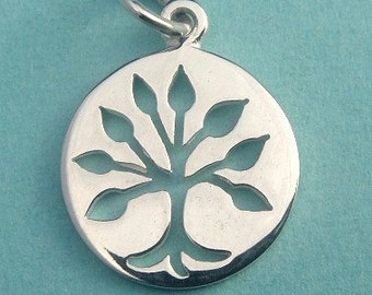 Silver Tree of Life Charm, Thai Sterling Silver Tree of Life Cut Out Charm-20 x 12mm