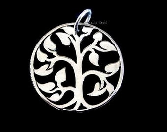 Tree of Life Charm, Sterling Silver Tree Charm- 15 x15mm