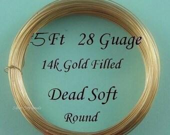 28 g gauge ga, 5 Ft, 14K Gold Filled  Round Wire- Dead Soft