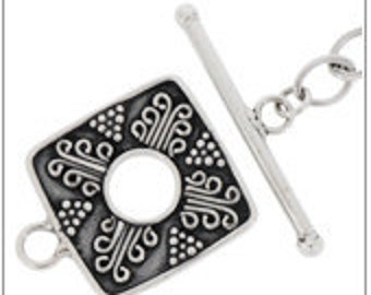 Bali Sterling Silver Square Fancy Toggle Clasp Set-  20mm(outside), 7.0mm(inside)
