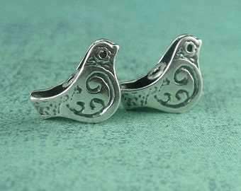 Silver Beads, 1 Sterling Silver Bird Bead- 6.7x10.5mm
