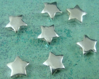 Silver Star Beads, 10 Pcs- 925 Sterling Silver Star Beads- 7mm