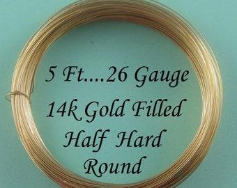 26 g gauge ga, 5 Ft, 14k Gold Filled Round Wire, Half Hard