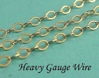 14k Gold Filled Flat Cable Chain,WHOLESALE Chain 5 Ft, HEAVY Gauge Wire, UPGRADE- 2x1.6mm