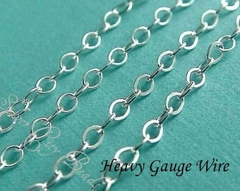 Silver Flat Cable Chain, 6 Ft Sterling Silver Flat Cable Chain-UPGRADE, HEAVY Wire Gauge- 2.2x1.7mm