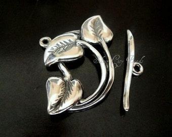 Sterling Silver Leaf Toggle Set,  20mm