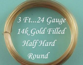 24g gauge ga, 3 Ft, 14k Gold Filled Round Wire, Half Hard