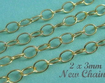 14k Gold Filled FLAT Cable Chain, 5 Ft  2x3mm GF306