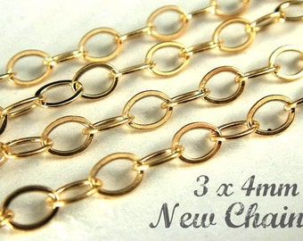 14k Gold Filled Flat Cable Chain, 5 Ft  Heavy Guage Wire 3x4mm- Wholesale
