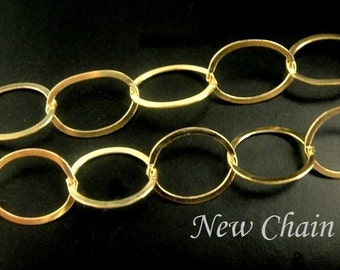 14k gold filled Flat cable chain, 3 Ft  Lisa Taubes Style 10.5 x 9mm