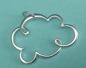 Sterling Silver Cloud Charm, 2 pcs Thai Silver Cloud Pendant 25x30mm