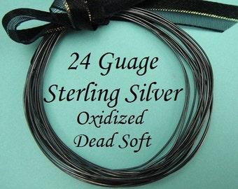 24g gauge ga, 5 Ft Sterling Silver Round Wire, OXIDIZED  Dead Soft BULK