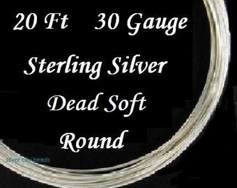 30 g ga gauge Sterling Silver Round Wire Dead Soft, 20 feet