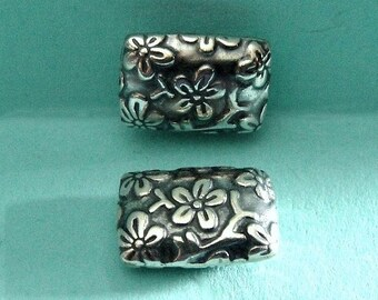 Bali Sterling Silver Rectangle Floral Chicklet Bead,  Oxidized-12x9x4mm