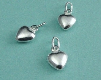 Sterling Silver Puffed Heart Charms Drops 6.5x9mm - 3 pcs
