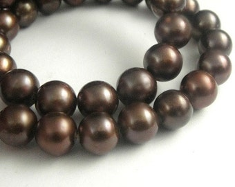 Freshwater Potato Pearls Round Chocolate Brown 10 PCS,  HUGE 10mm-High Quality