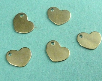 14k Gold Filled Sequin Heart Blank Tags, 28g 8.5mm .9mm hole-20pcs- WHOLESALE