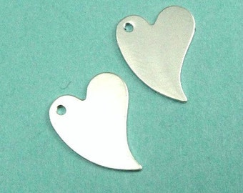 Sterling Silver Blanks Tags Discs Heart Stamping Sequins -2 pcs.9.3x11.7mm 28ga