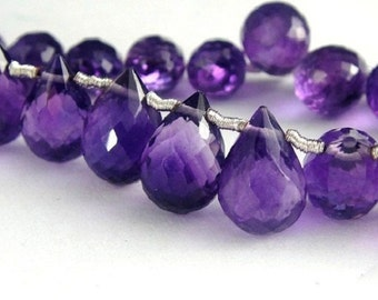 Amethyst Teardrop Briolette Faceted  2 pcs  -8x5 - 9x6mm AAA High Quality