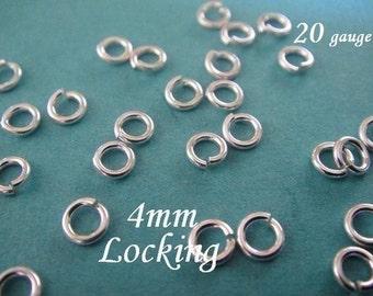 50 Pcs BULK 20 gauge ga g, 4mm Sterling Silver LOCKING Jump Ring, aka jump locks, 925 Sterling Silver